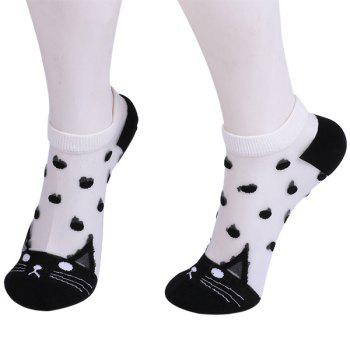 Glass Silk Kitten Polka Dot Embroidery Socks