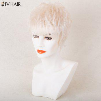 Siv Hair Shaggy Short Side Bang Soie Straight Pixie Perruque de cheveux humains - Blanc Cassé