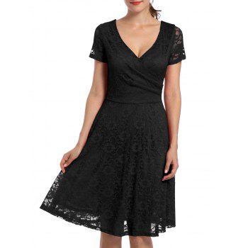 V Neck High Waist Lace Dress