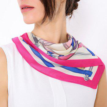 Square Fine Artificial Silk Geometric Pattern Scarf