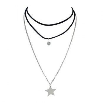 Rhinestone Artificial Suede Fabric Star Layered Choker Necklace
