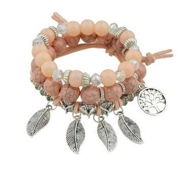 Owl Leaves Life Tree Beaded Bracelet Set