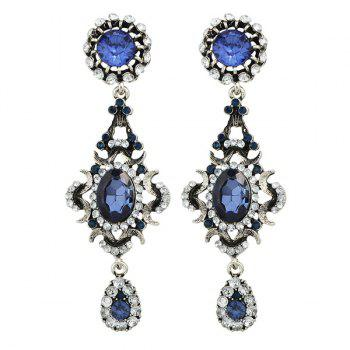 Faux Sapphire Oval Teardrop Vintage Earrings