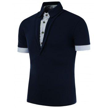Fake Two Pieces Contrast Trim Polo Shirt