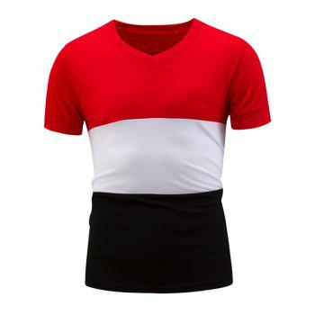 V Neck Short Sleeve Color Block Panel T-Shirt