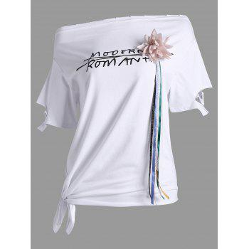 Graphic Stereo Floral Design Asymmetrical Tee - WHITE WHITE