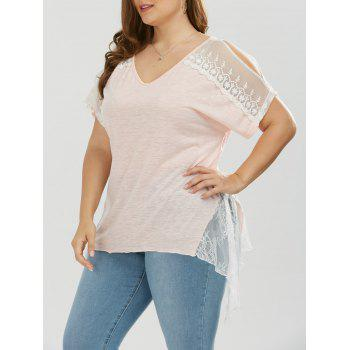 Plus Size Slit Sleeve Lace Trim T-Shirt