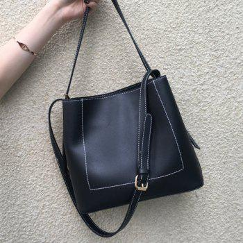 Faux Leather Stitching Shoulder Bag