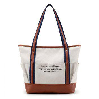Contrast Trim Graphic Print Canvas Shoulder Bag