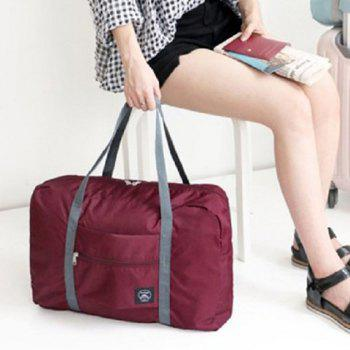 Waterproof Nylon Foldable Carryall Bag - WINE RED