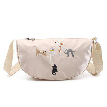 Satin Cat Embroidered Crossbody Bag