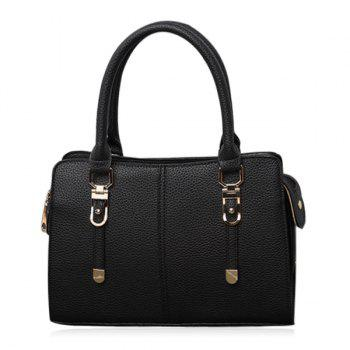 Metal Detail Pebbled PU Leather Tote Bag