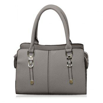 Metal Detail Pebbled PU Leather Tote Bag - GRAY GRAY