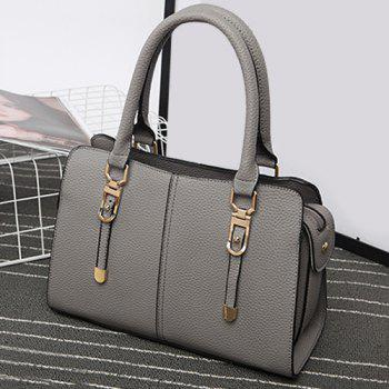 Metal Detail Pebbled PU Leather Tote Bag -  GRAY