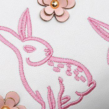 Metal Ring Rabbit Embroidery Handbag -  PINK