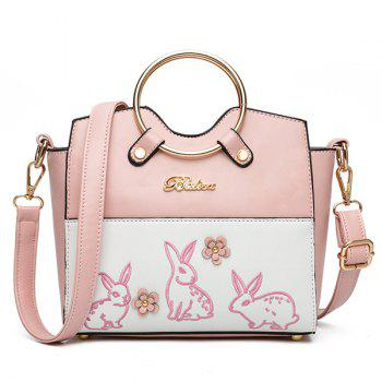 Metal Ring Rabbit Embroidery Handbag - PINK PINK