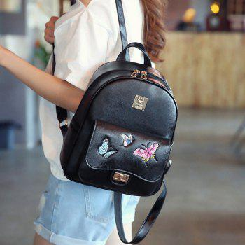 4 Pieces Butterfly Embroidery Backpack Set - BLACK
