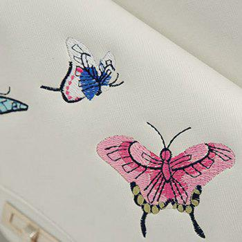 4 Pieces Butterfly Embroidery Backpack Set - WHITE