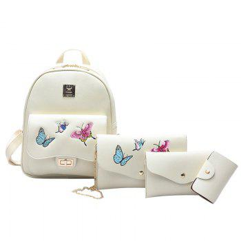 4 Pieces Butterfly Embroidery Backpack Set