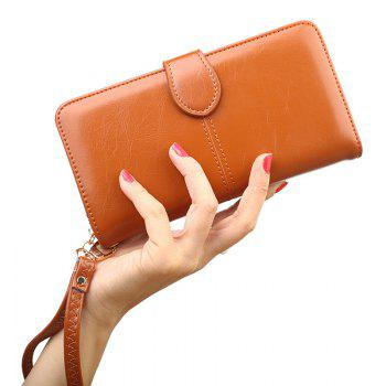 Eyelet Detail Stitching PU Leather Clutch Wallet - BROWN BROWN