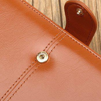 Eyelet Detail Stitching PU Leather Clutch Wallet -  BROWN