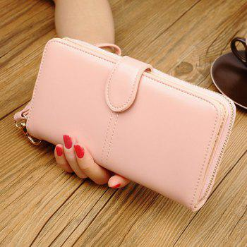 Eyelet Detail Stitching PU Leather Clutch Wallet - PINK