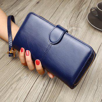 Eyelet Detail Stitching PU Leather Clutch Wallet