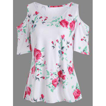 Cold Shoulder Floral Print Tee