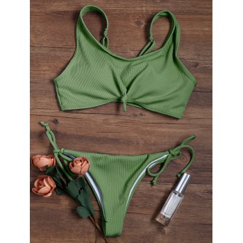 Adjustable Straps Ribbed String Bikini with Knotted