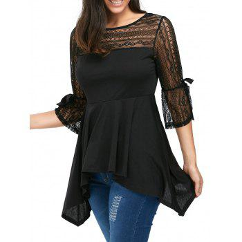 Lace Panel Empire Waist Handkerchief Peplum Top - BLACK S