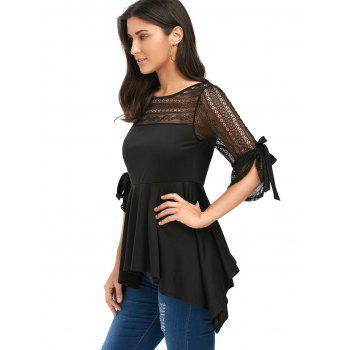 Lace Panel Empire Waist Handkerchief Peplum Top - L L