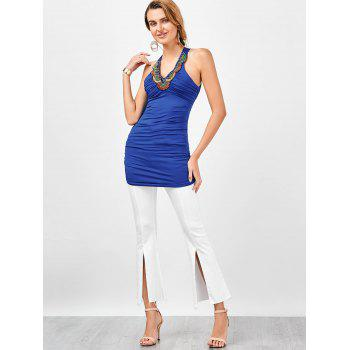 Embellished Ruched Criss Cross Longline Tank Top - ROYAL ROYAL