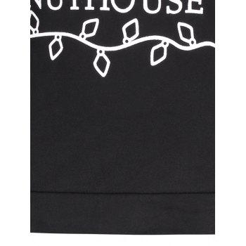 Christmas Letter Print Skew Neck Sweatshirt - BLACK XL