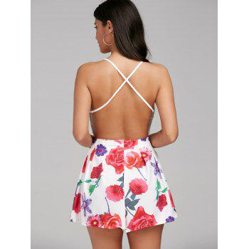 Sexy V-Neck Sleeveless Floral Print Backless Women's Romper - COLORMIX S