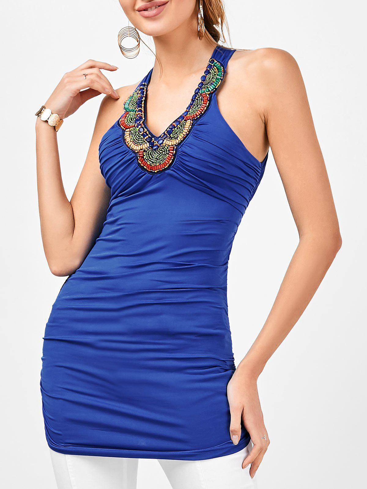 Embellished Ruched Criss Cross Longline Tank Top - ROYAL M