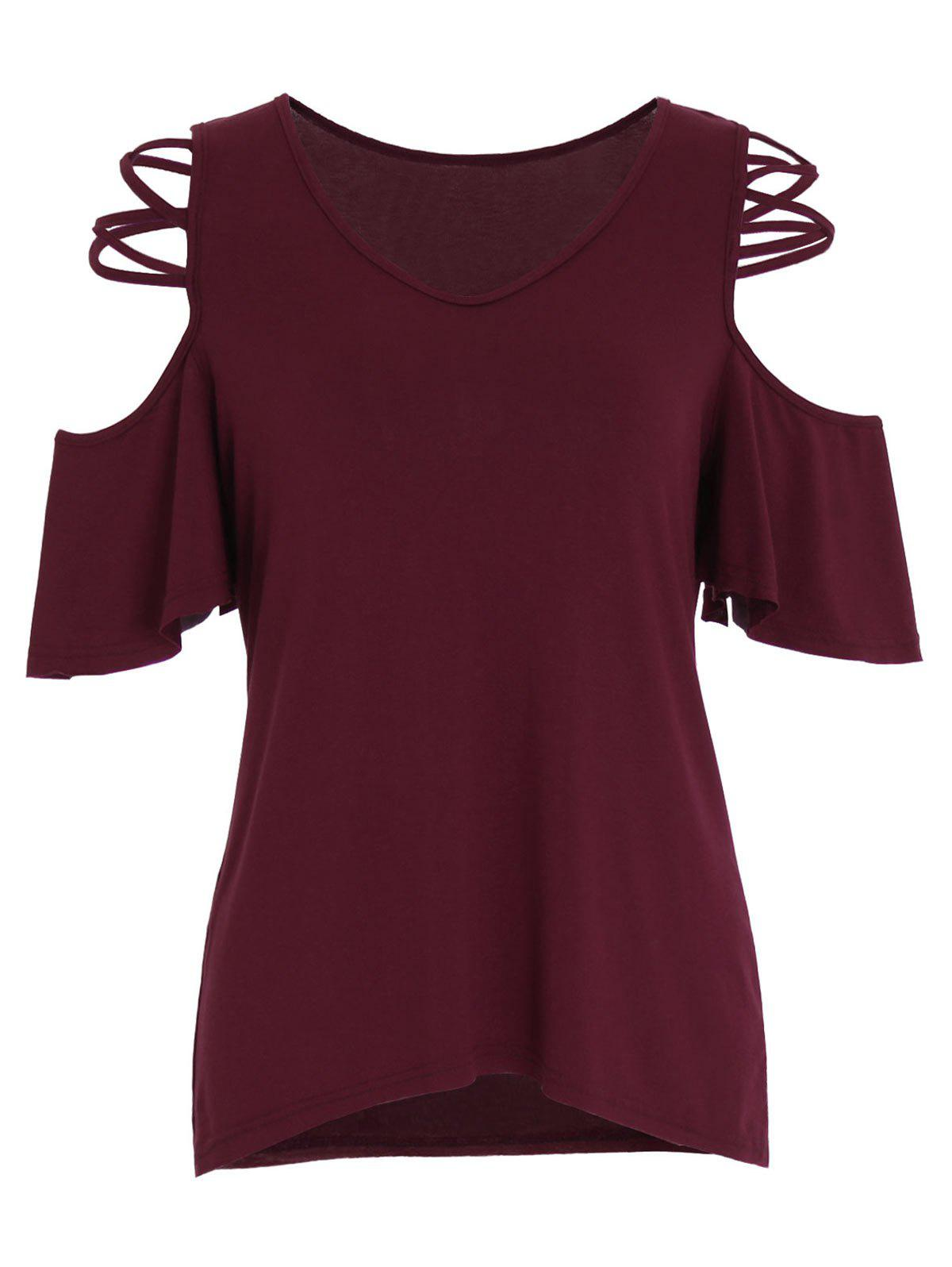 Cold Shoulder Criss Cross T-Shirt ribbed criss cross front cold shoulder t shirt