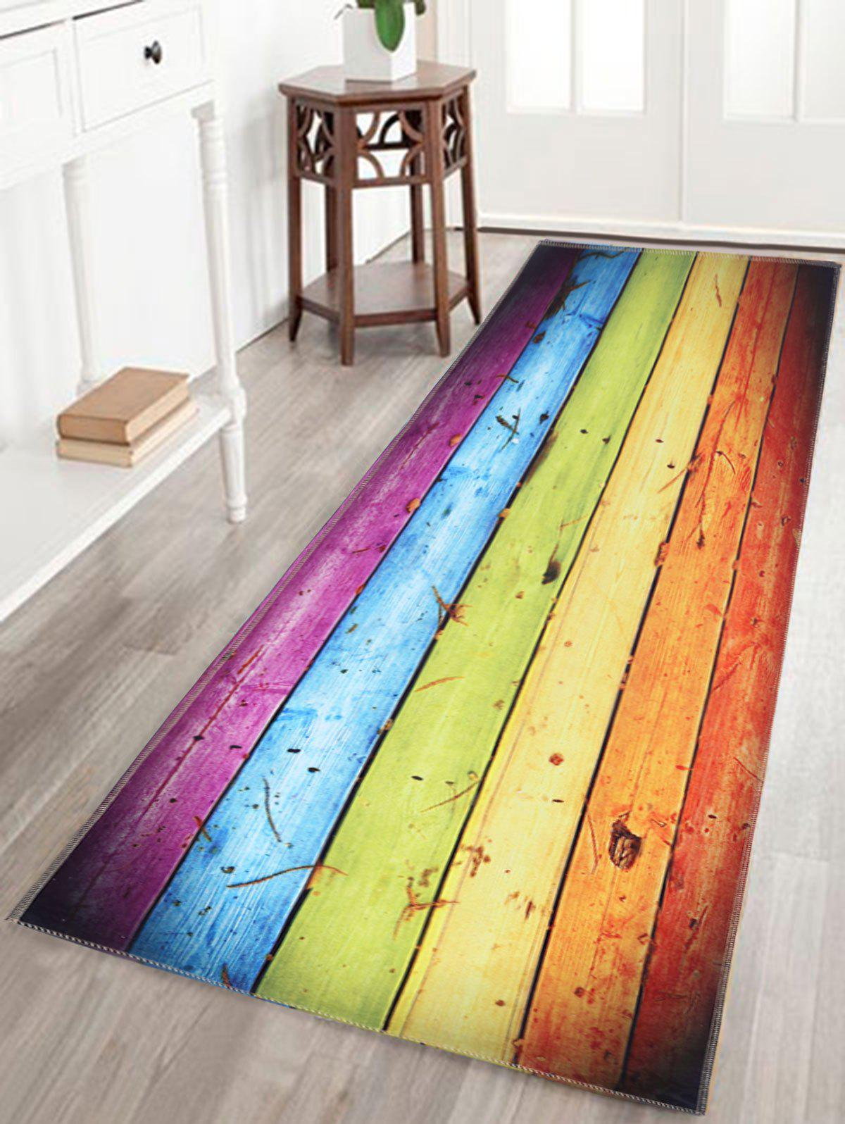 Wood Grain Rainbow Print Skidproof Bathroom Rug skidproof water absorption bathroom rug with wood grain print