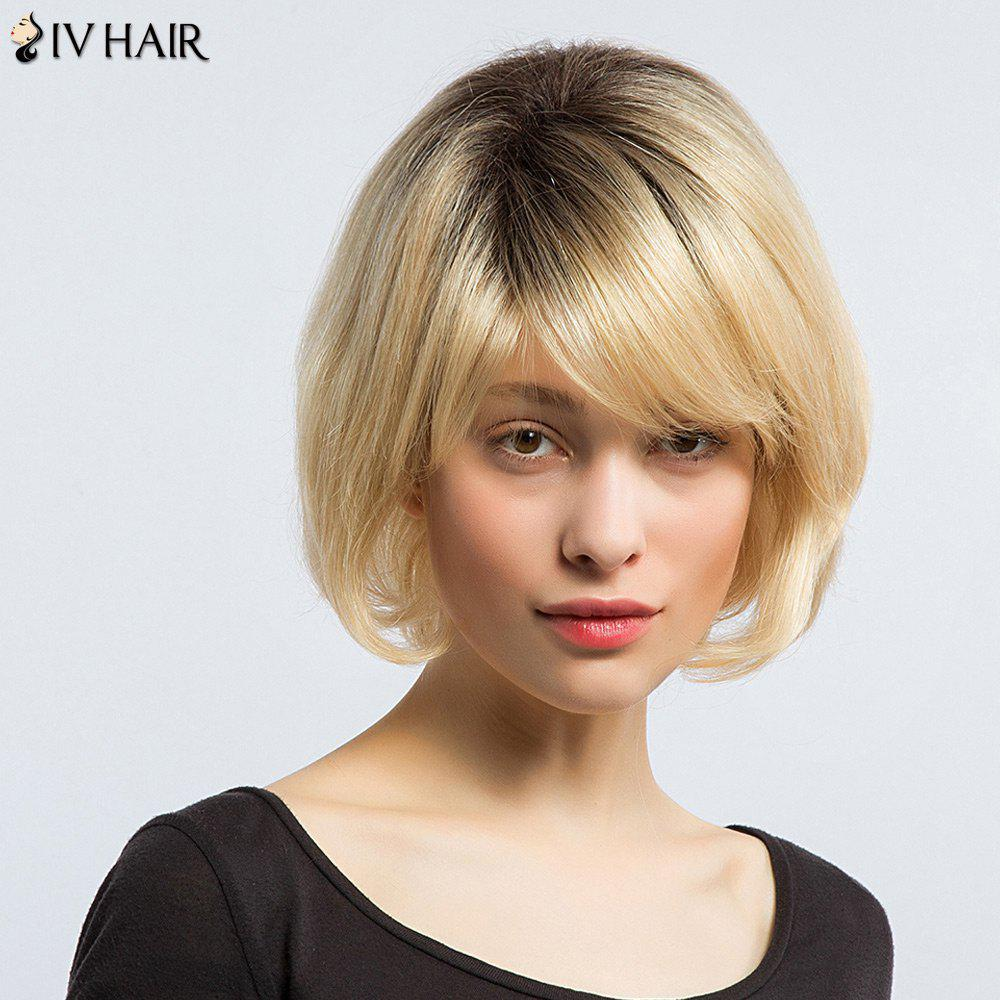 Siv Hair Side Bang Court Naturel Straight Bob Perruque de cheveux humains - multicolorcolore