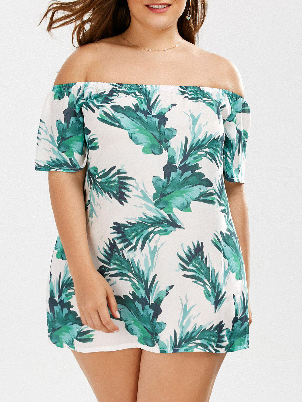 Plus Size Leaf Tropical Printed Off The Shoulder Top