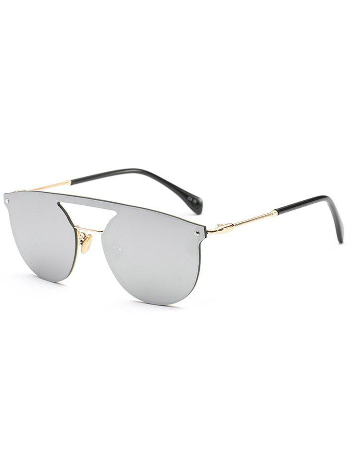 Invisible Frame Hollow Out Crossbar Mirrored Sunglasses hollow out frame crossbar pilot mirrored sunglasses