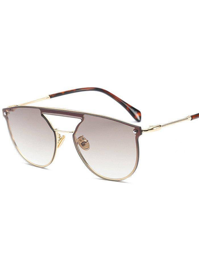 Invisible Frame Hollow Out Crossbar Mirrored Sunglasses - CHAMPAGNE