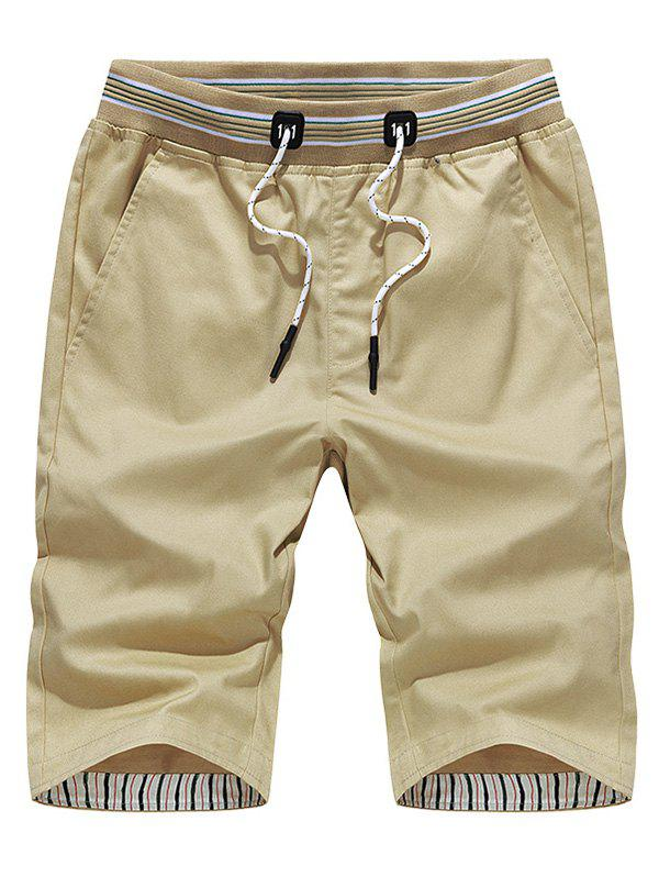 Drawstring Stripe Waistband Chino Shorts - KHAKI 4XL