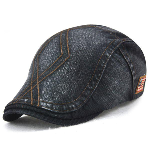 Nostalgic Denim Flat Cap with Rhombic Embroidery - BLACK