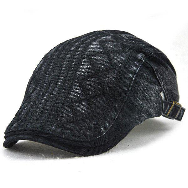 Stripe Rhombic Checked Embroidery Newsboy Hat - BLACK