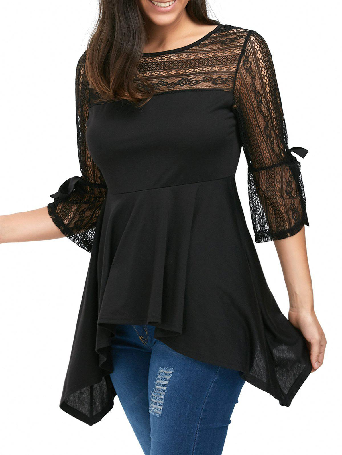Lace Panel Empire Waist Handkerchief Peplum Top - BLACK L