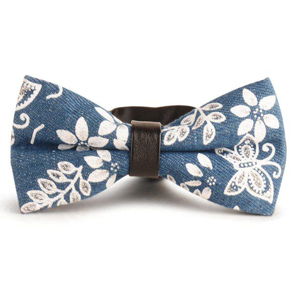Flower Printed Denim Layered Bow Tie - DENIM BLUE