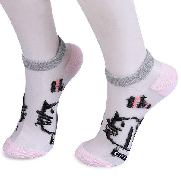 Glass Silk Cartoon Kitten Lettes Embroidered Socks - SHALLOW PINK