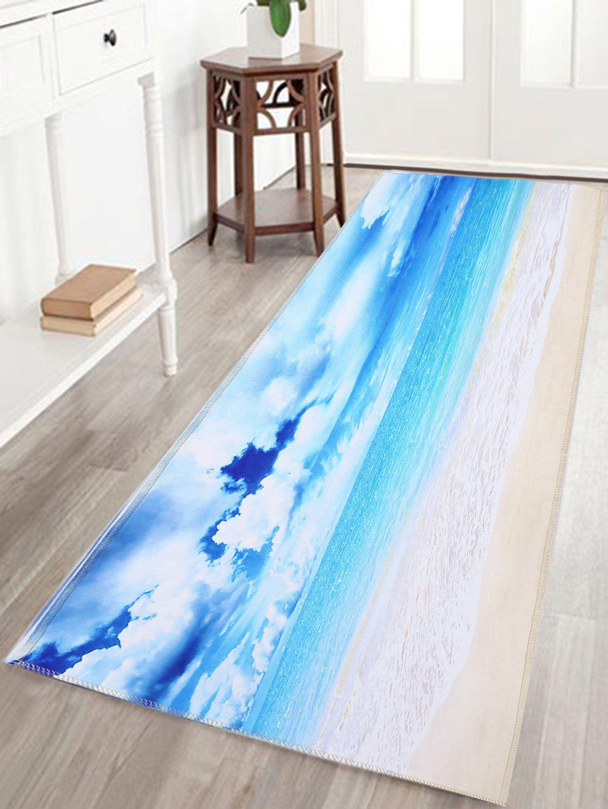 Sea View Water Absorption Skidproof Bathroom Rug skidproof water absorption bathroom rug with wood grain print