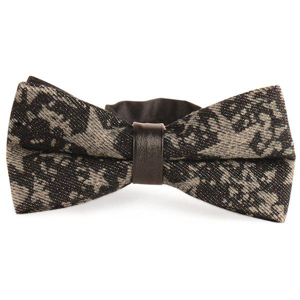 Pentagram Printing Denim Layered Bow Tie - SMOKY GRAY