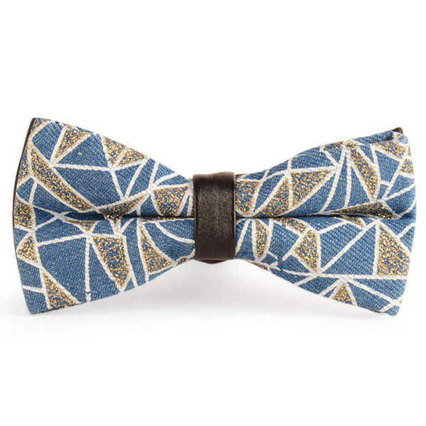 Layer Denim Geometric Pattern Bow Tie - CADETBLUE